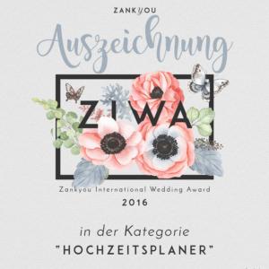 Hochzeitsplaner Weddingplanner Award Auszeichnung Zankyou 2016